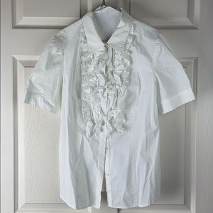 White ruffle button up shirt